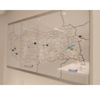 H-100 Manyetik Haritalı Cam Yazı Tahtası
