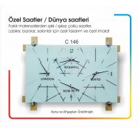 C146 Ayna - Ahşap Dünya Duvar Saati